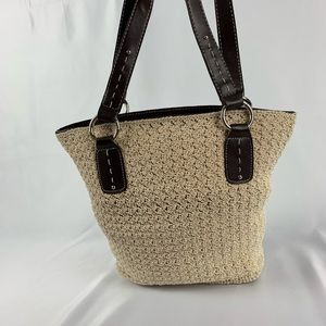 Crochet Tan Cream Bucket Bag Silver Hardware NEW